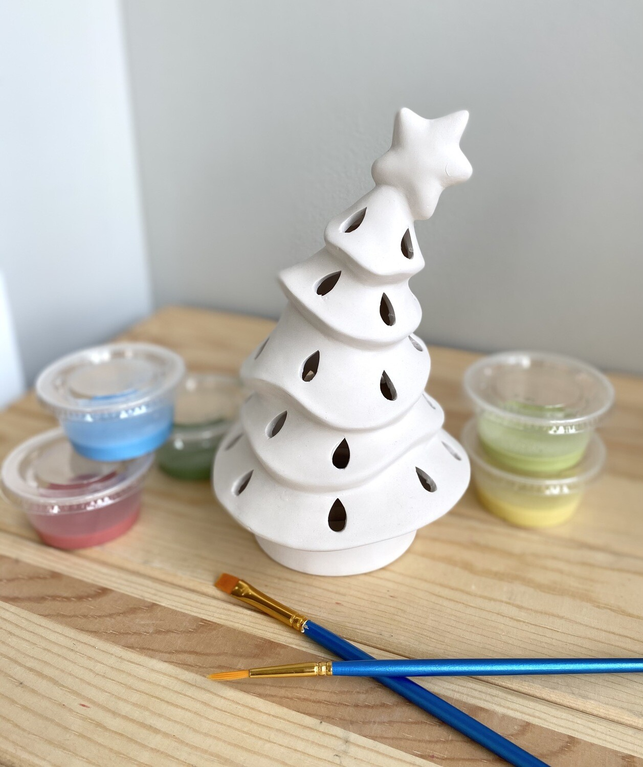 Take Home 2 Piece Animated Tree Votive with Glazes- Pick up Curbside