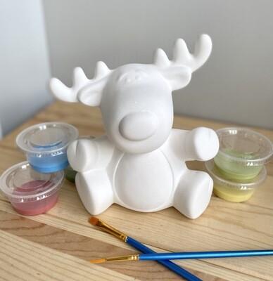 Take Home Reindeer Figurine with Glazes- Pick up Curbside