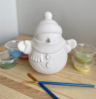 Take Home Snowman Figure with Glazes- Pick up Curbside