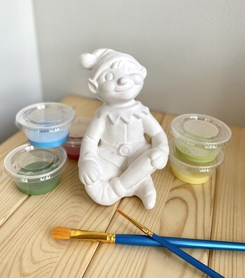 Take Home Sitting Elf with Glazes- Pick Up Curbside