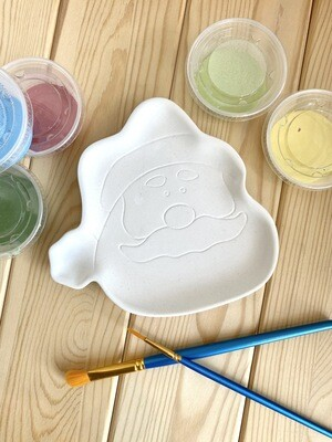 Take Home Santa Face Dish with Glazes- Pick Up Curbside