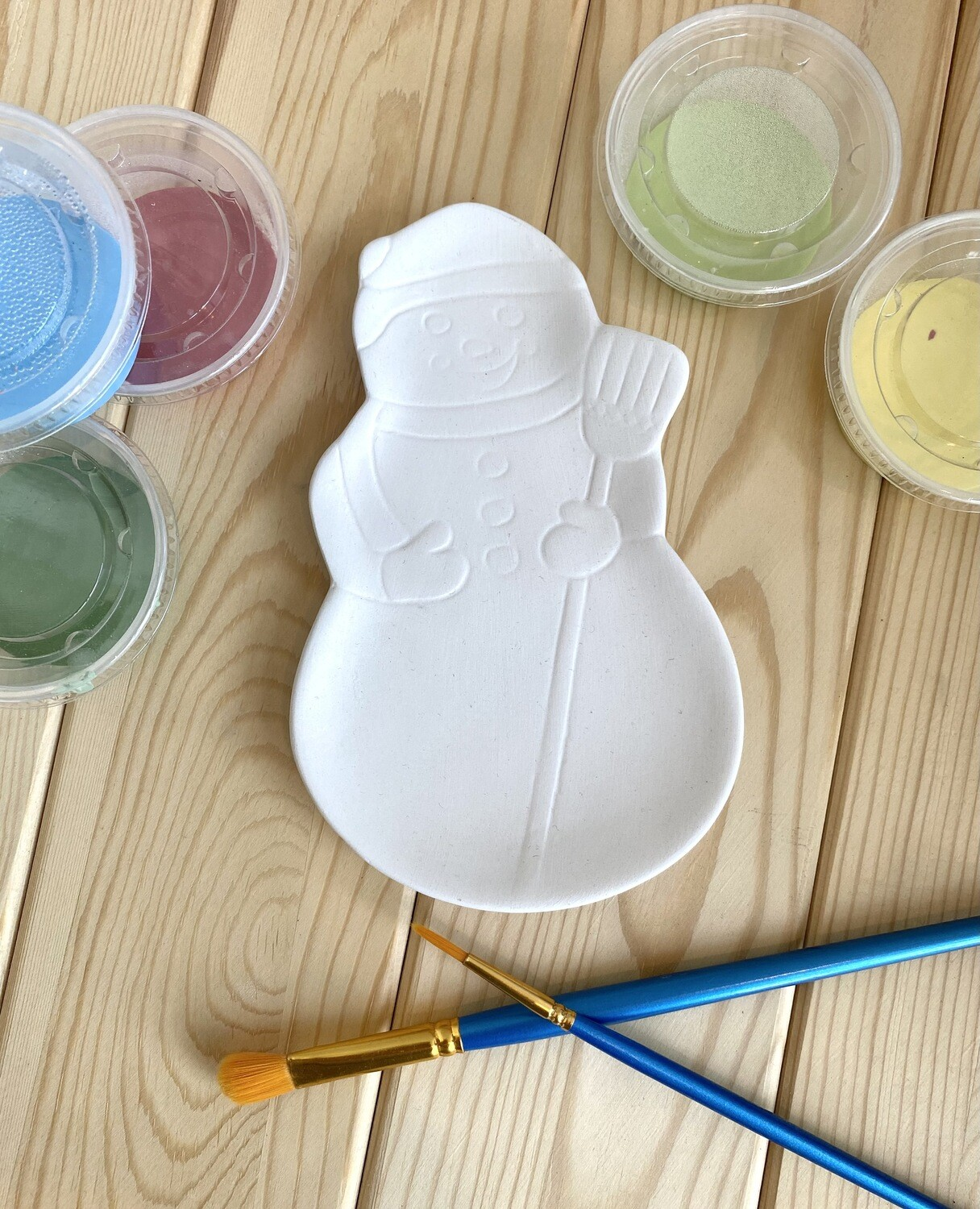 Take Home Snowman Dish with Glazes- Pick Up Curbside