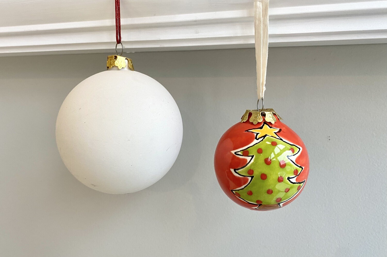 """Take Home 3"""" Ball Ornament with Glazes- Pick Up Curbside"""