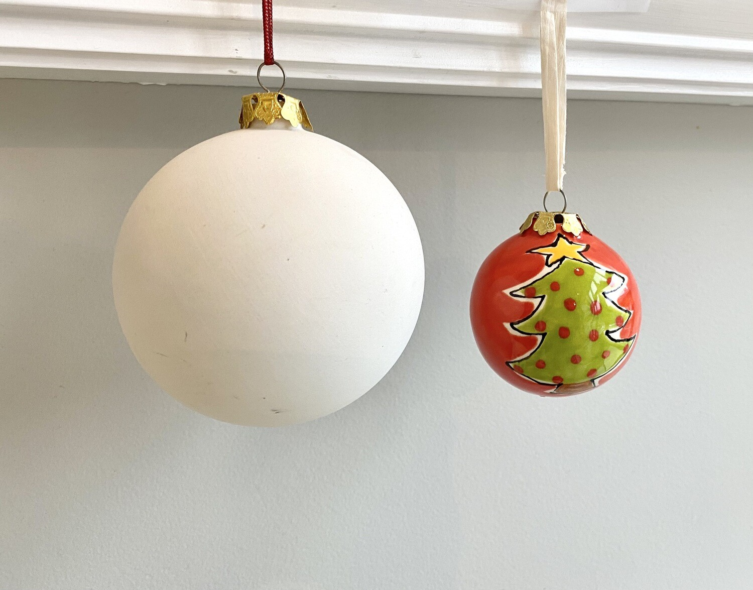 "Take Home 4"" Ball Ornament with Glazes- Pick Up Curbside"