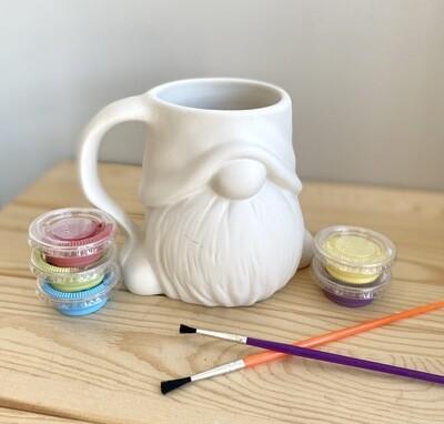 Take Home Gnome Mug with Glaze- Pick up Curbside