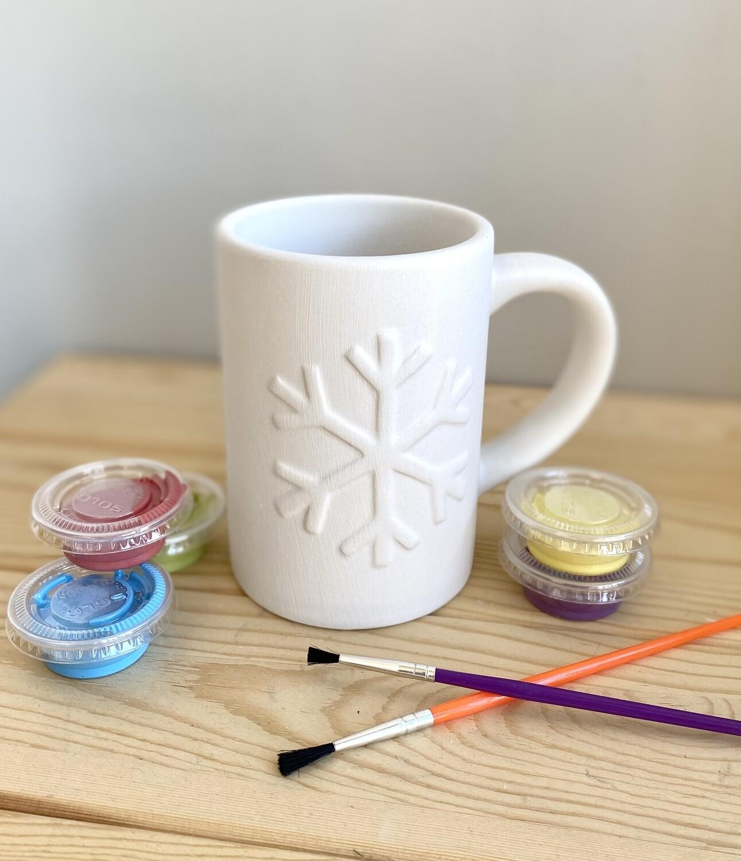 Take Home Snowflake Mug with Glazes- Pick Up Curbside