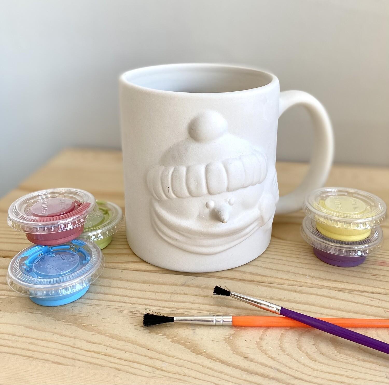 Take Home Snowman Mug with Glazes- Pick Up Curbside