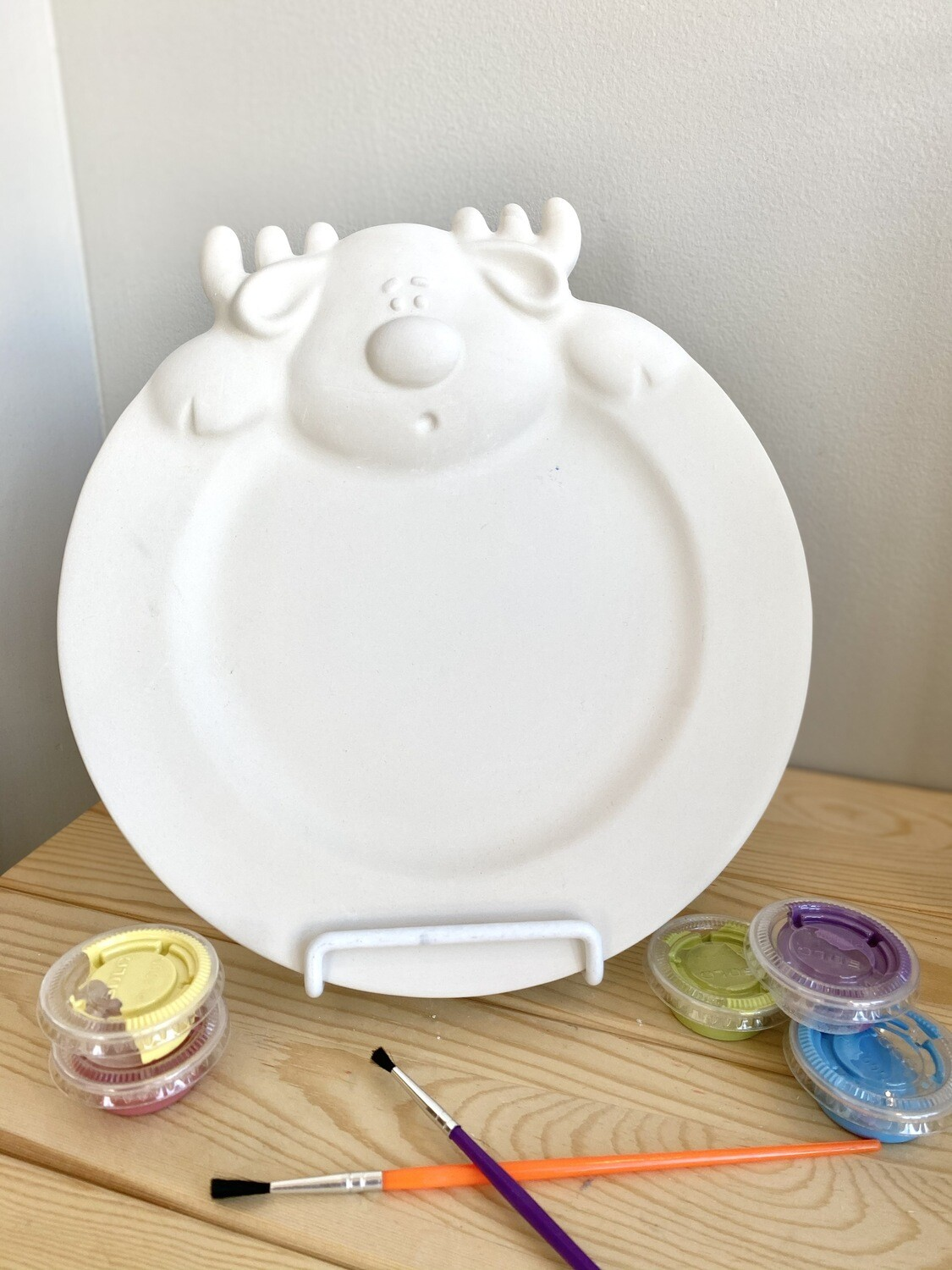 Take Home Reindeer Head Plate with Glazes- Pick Up Curbside