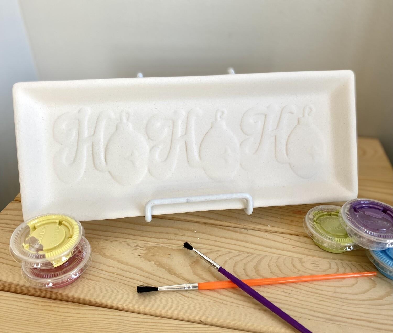 Take Home HoHoHo Plate with Glazes- Pick Up Curbside