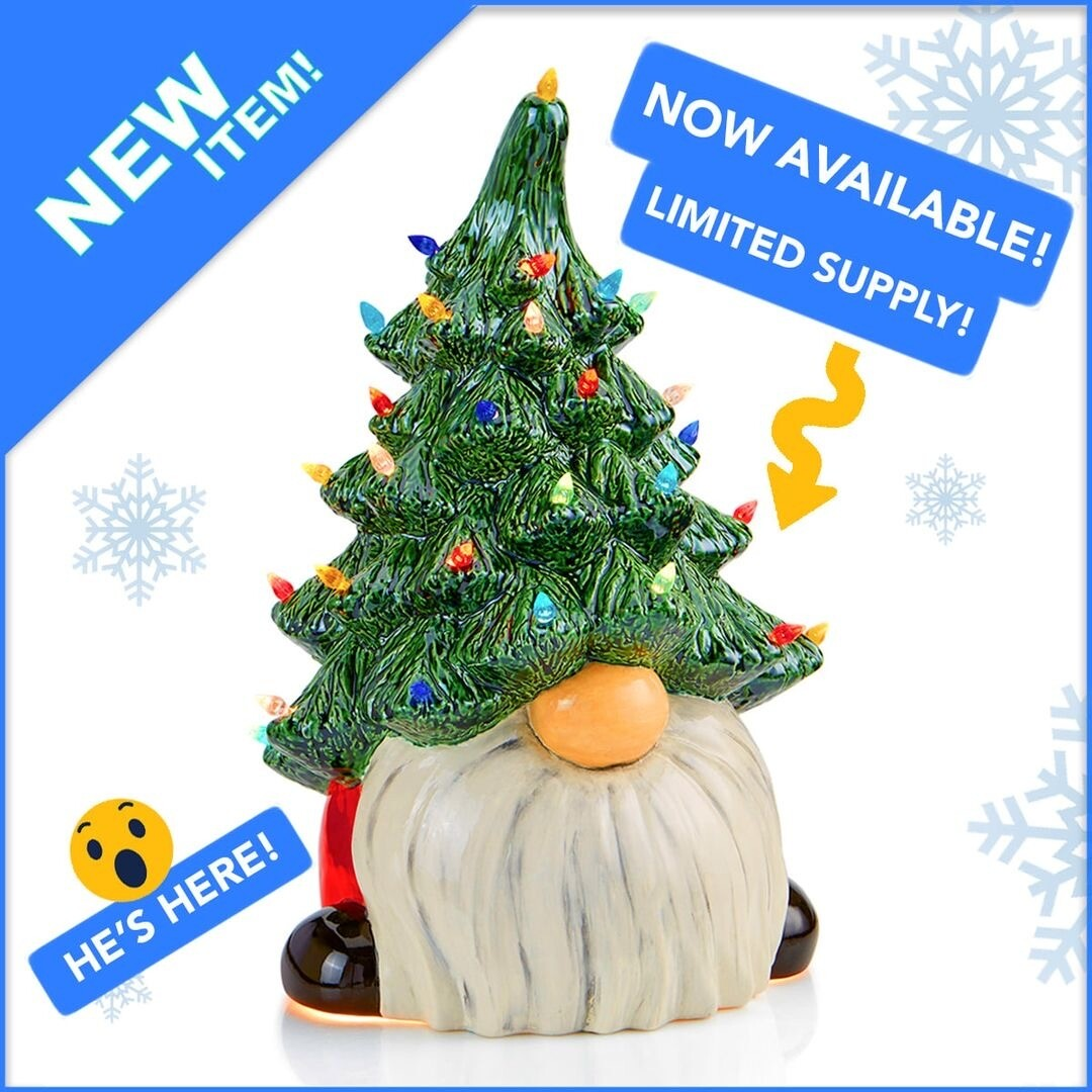 "13.25"" Lighted Christmas Gnome With Glazes - New! Buy Now!"
