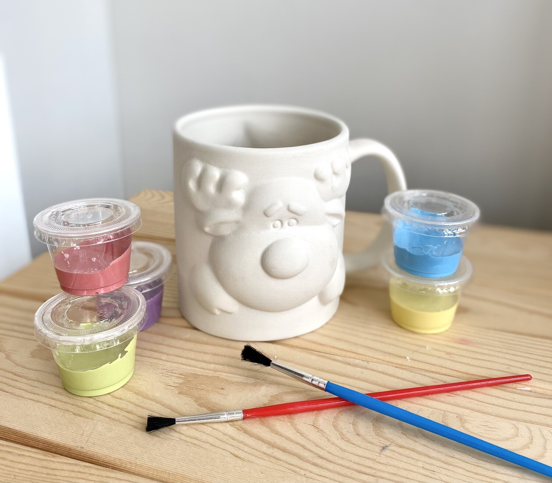 Take Home Reindeer Mug with Glazes- Pick Up Curbside