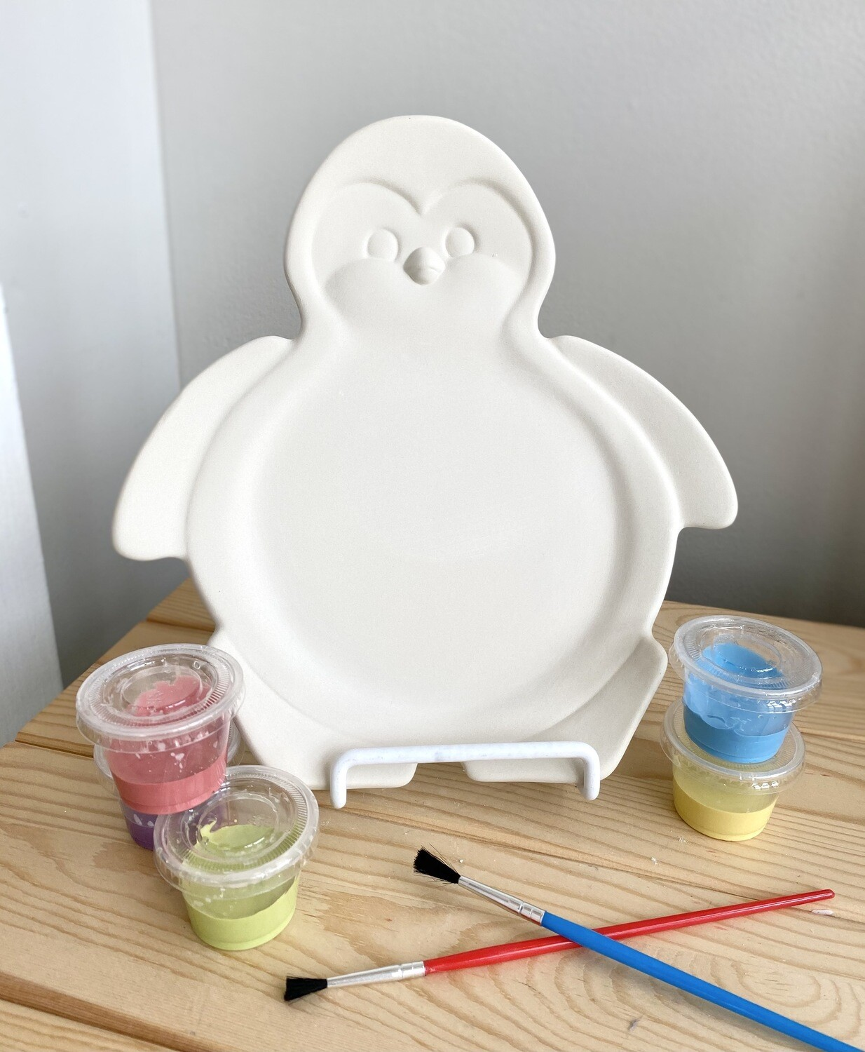 Take Home Penguin Plate with Glazes- Pick Up Curbside