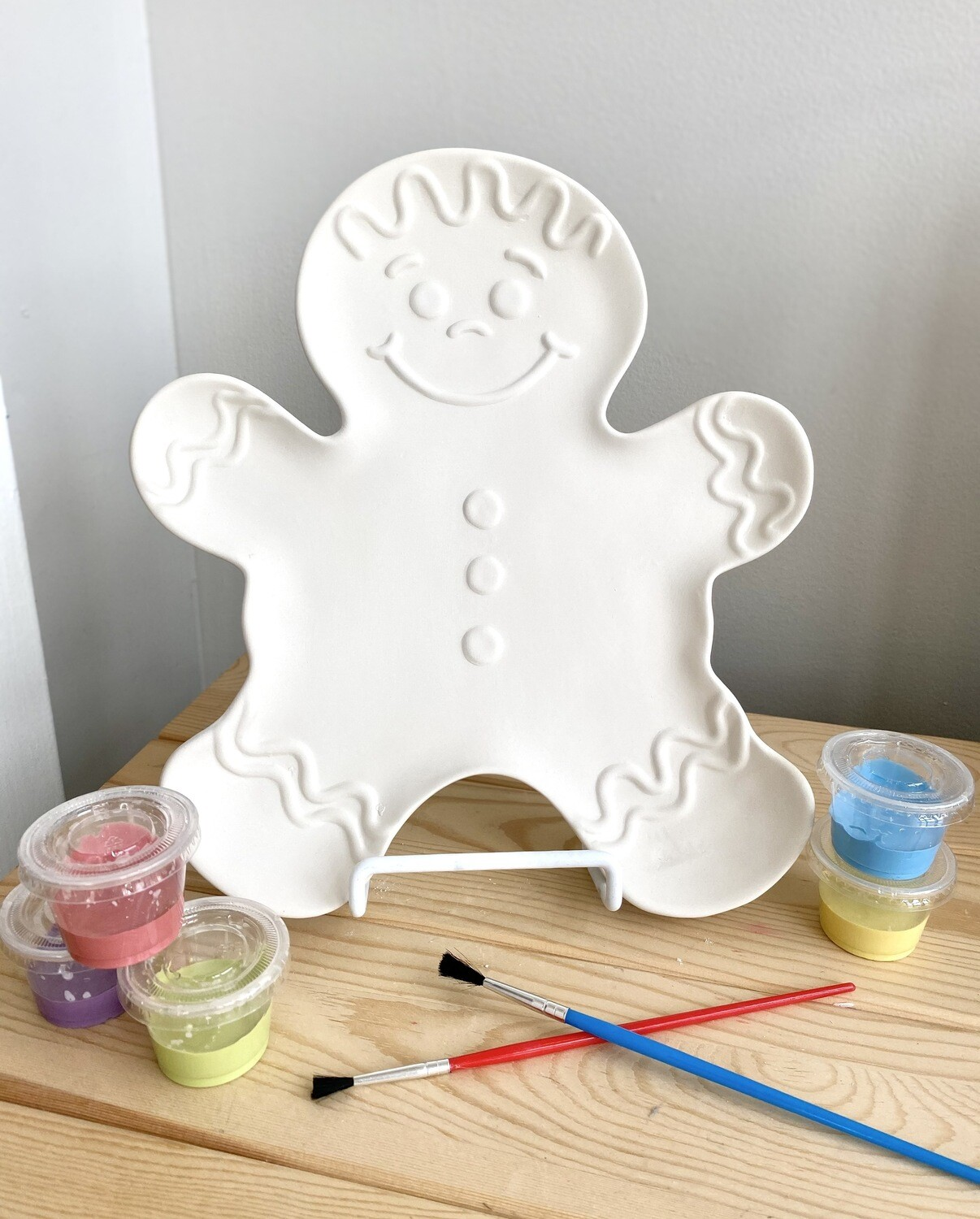 Take Home Gingerbread Man Plate with Glazes- Pick Up Curbside