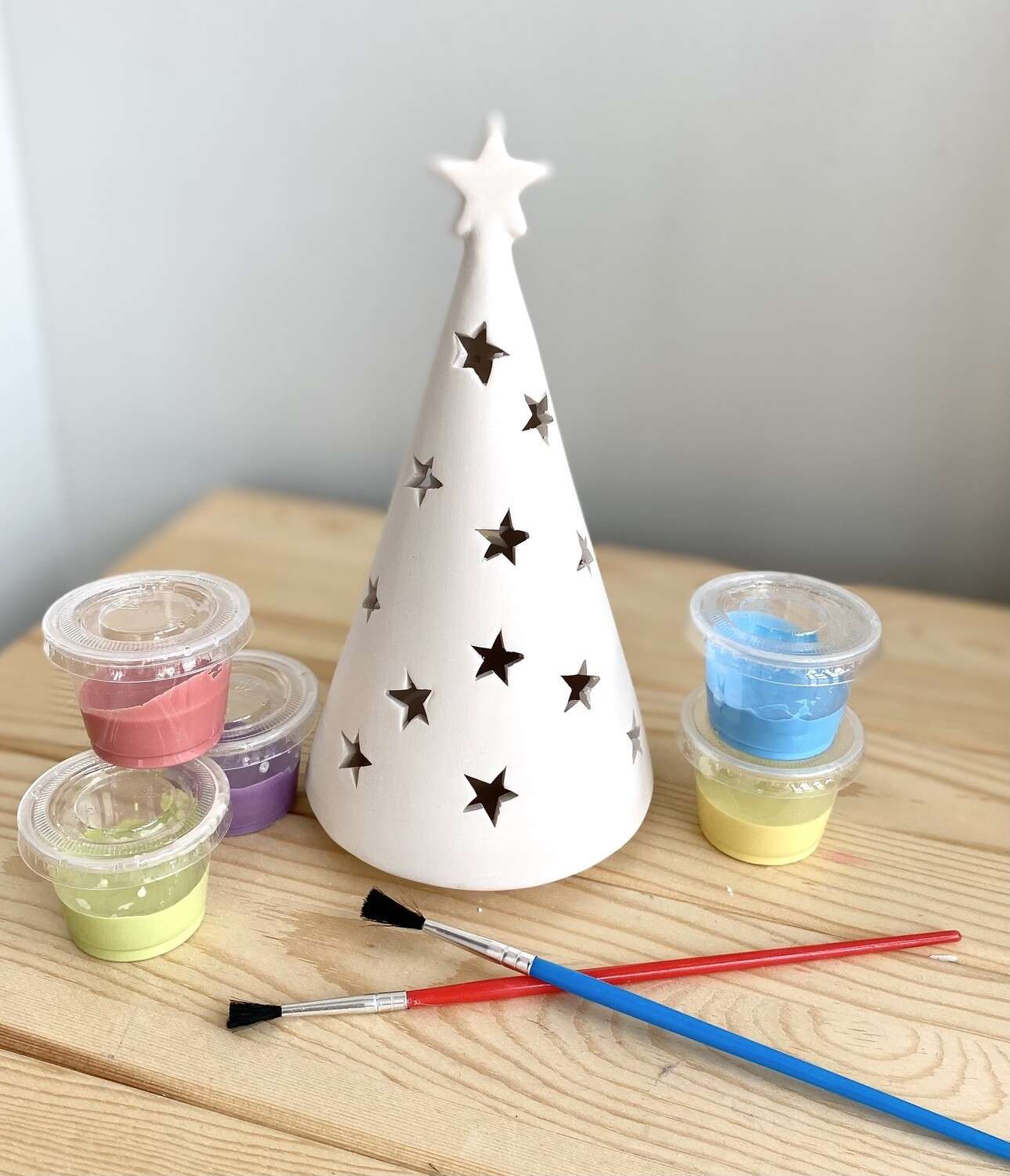Take Home Tree Cone Lantern with Glazes- Pick Up Curbside