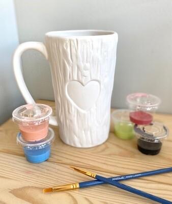 Tall Wooden Heart Mug