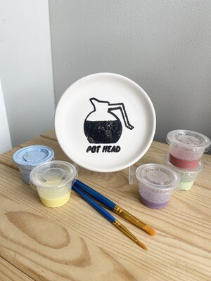 Take Home Coloring Book Pothead Dish/Coaster with Glazes