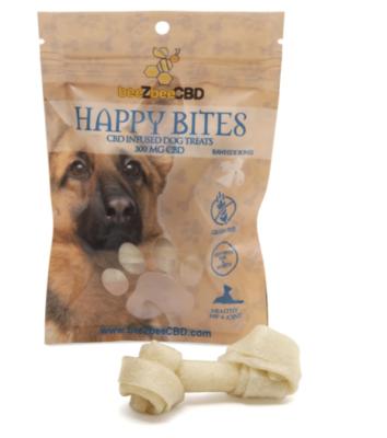 BeeZbee CBD Pet Treats Happy Bites 300mg Rawhide Bones