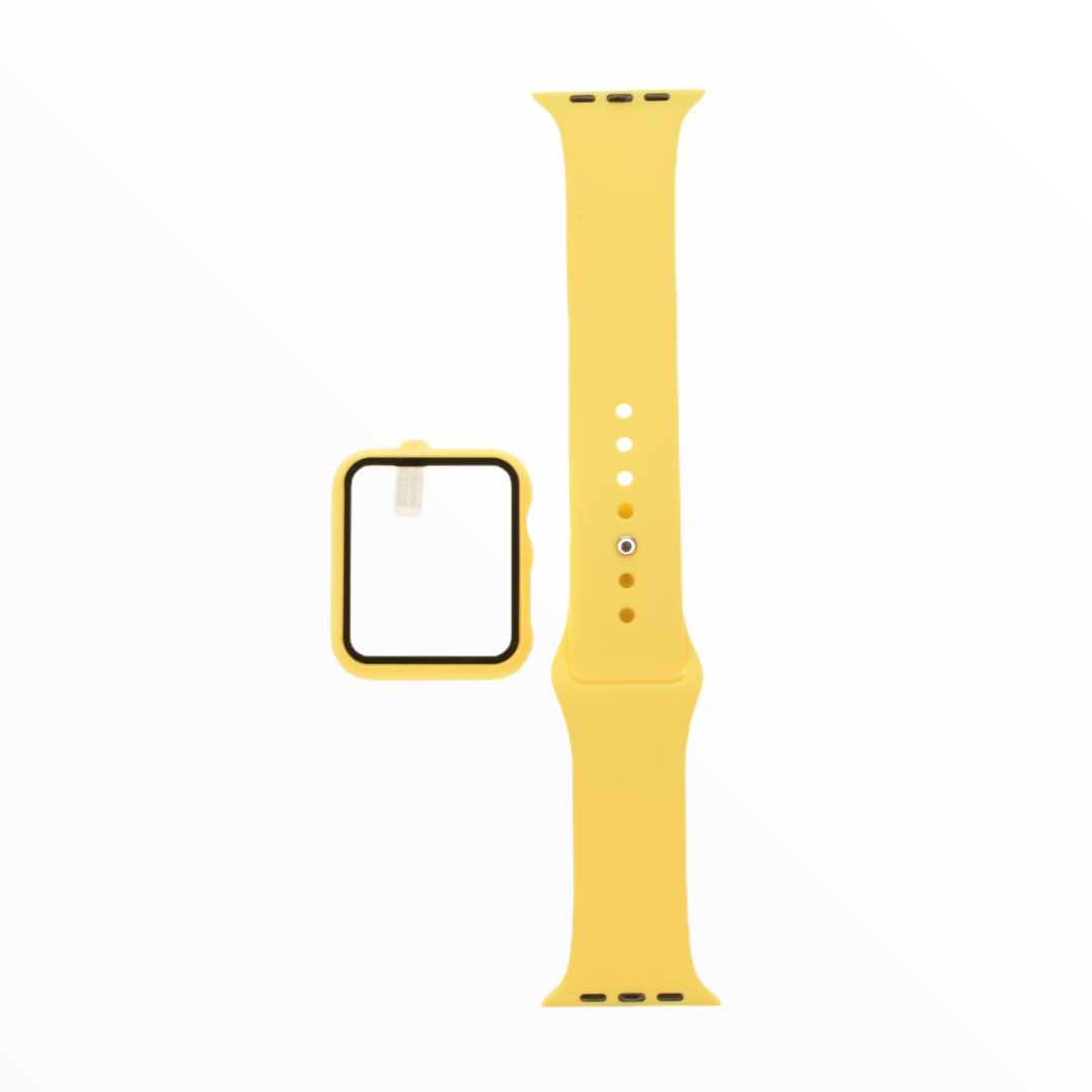 EL REY Pulsera + Bumper Con Protector De Pantalla Para  Apple Watch 38 Mm Color  Amarillo