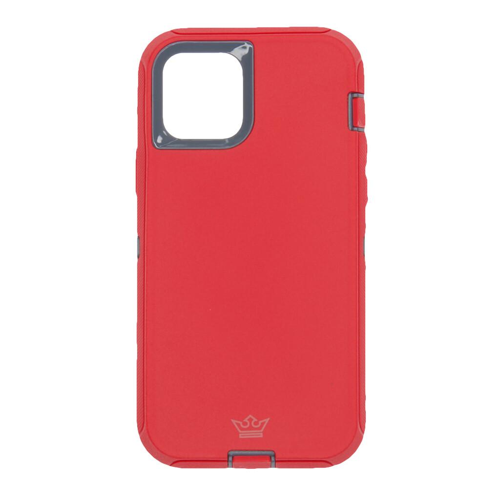 Estuche EL REY Defender Con Clip Rojo / Gris - IPHONE 12 / PRO 6.1