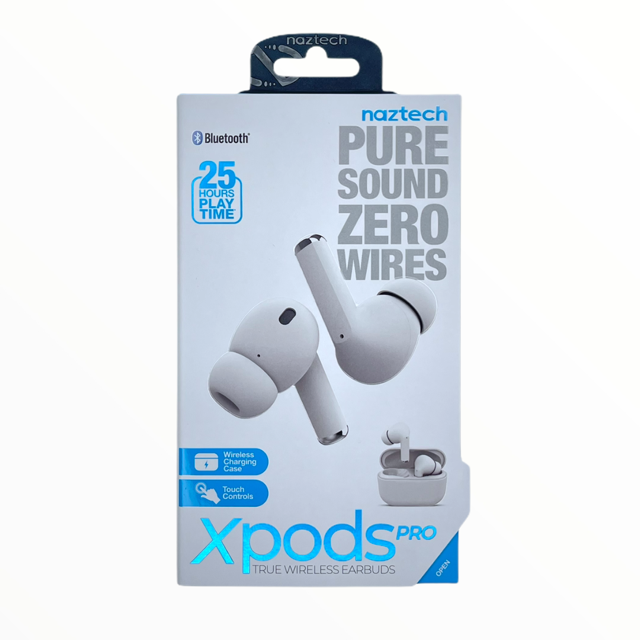 Audifonos NAZTECH Audifonos inalambricos  Xpods PRO True Wireless Earbuds con carga inalambrica BLANCO