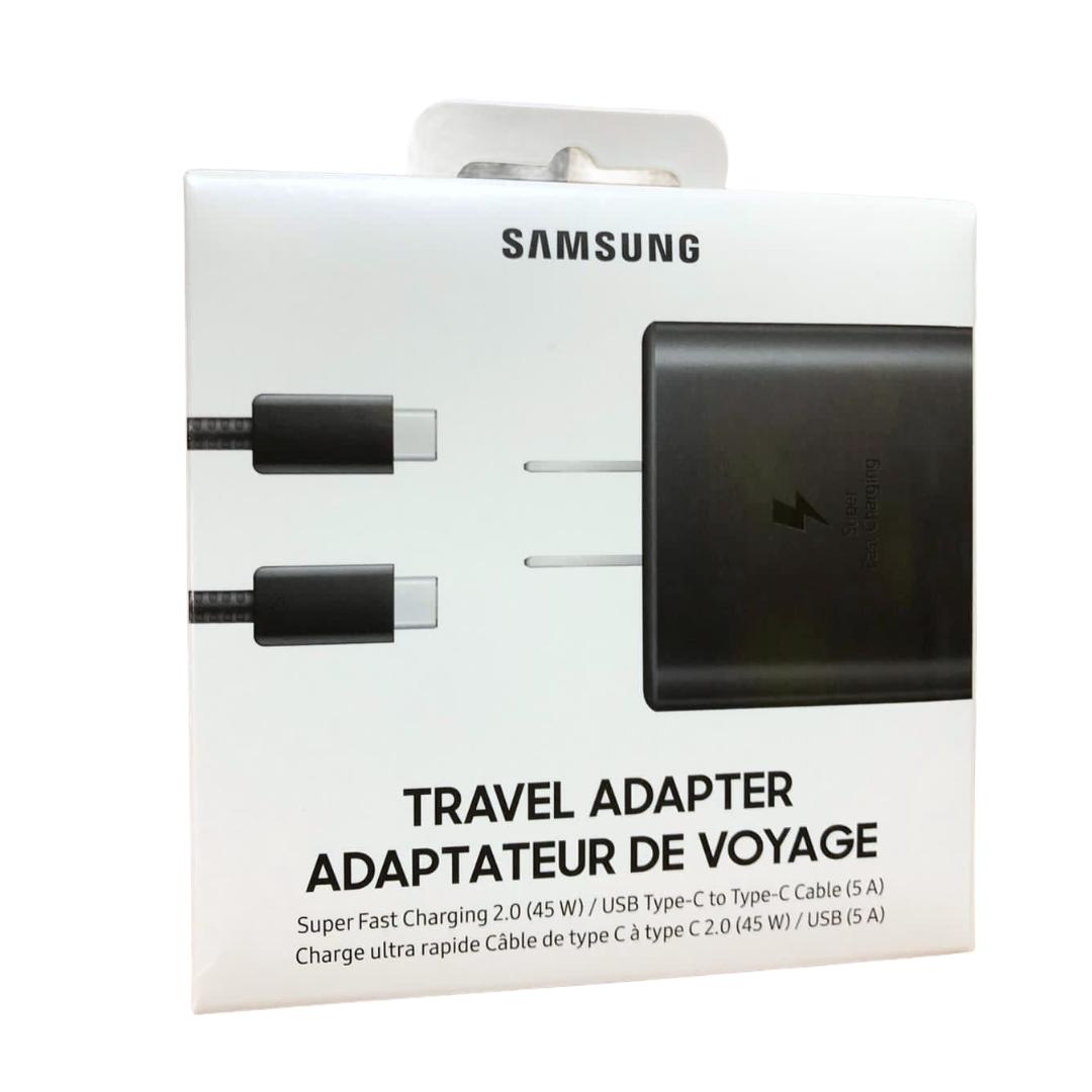 SAMSUNG Cargador tipo c  + cable ultra rapdio de 45 w empaque retail negro