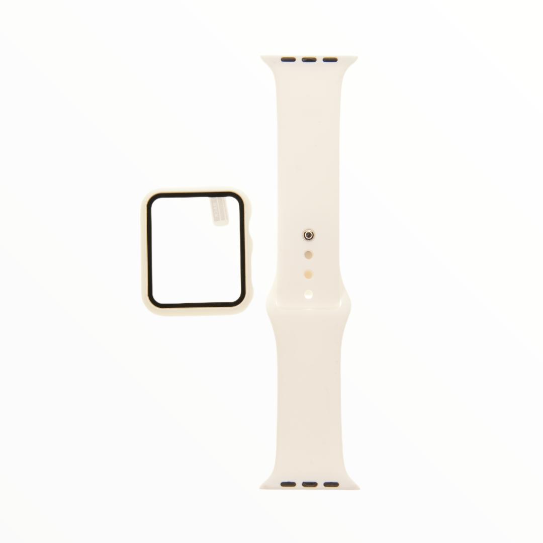 EL REY Pulsera + Bumper Con Protector De Pantalla Para  Apple Watch 44 Mm Color Blanco