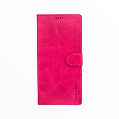 Estuche LC IMEEKE Libreta Con Porta Tarjeta Fucsia -  Samsung A01