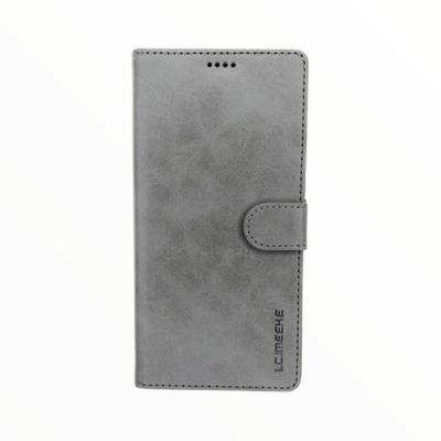 Estuche LC IMEEKE Libreta Con Porta Tarjeta Gris -  Samsung A01