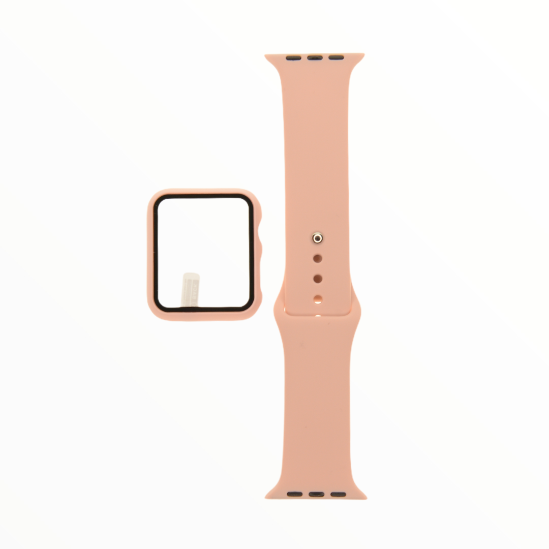 EL REY Pulsera + Bumper Con Protector De Pantalla Para  Apple Watch 38 Mm Color  Palo Rosa