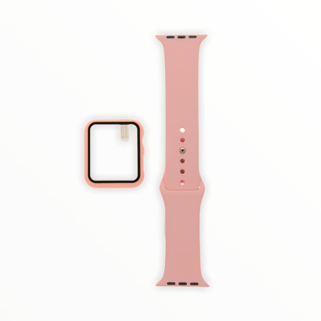 EL REY Pulsera + Bumper Con Protector De Pantalla Para  Apple Watch 42 Mm Rosado