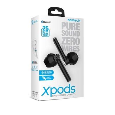 Audifonos NAZTECH Audifonos inalambricos  Xpods True Wireless Earbuds con carga inalambrica NEGRO