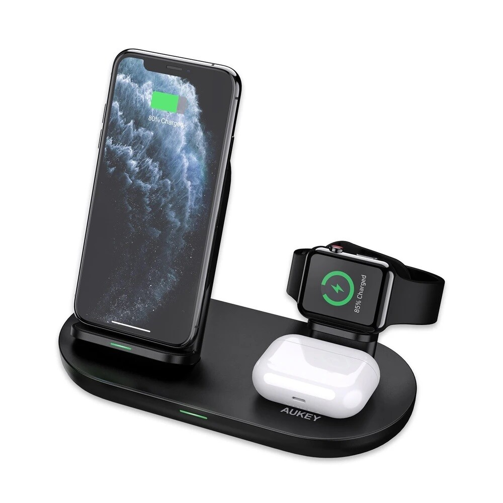 AUKEY 3-IN-1 Wireless Fast Charger (BK, WH)