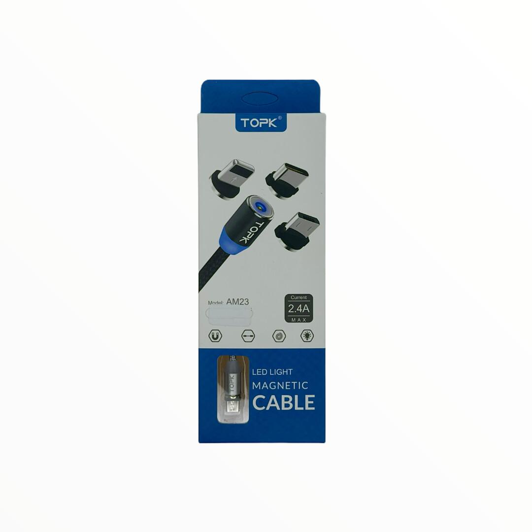 Cables TOPK Cable De 2 Metros Magnetico Micro + Lighting + Tipo C - Plateado