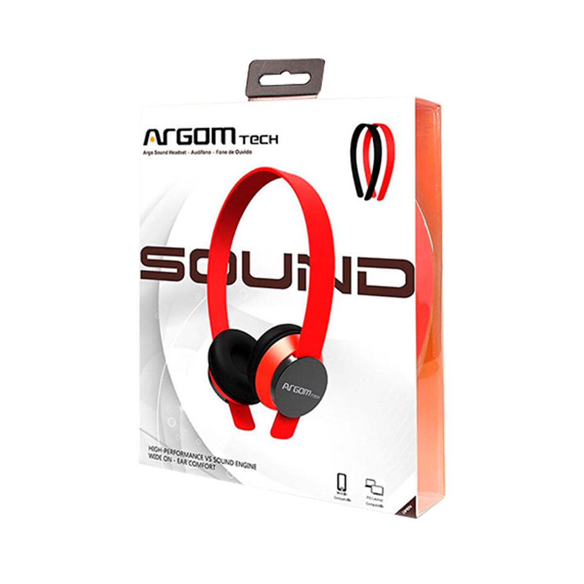 Audifonos ARGOM Audifono Argo Sound Con 2 Diademas Con Microfono rojo
