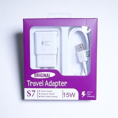 GEN Kit Pared Carga Rapida + Cable Empaque Blanco / Morado V8 Micro Usb