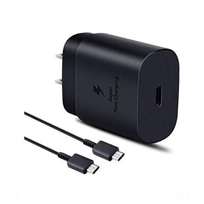 SAMSUNG Cargador tipo c  + cable 25 w empaque retail negro