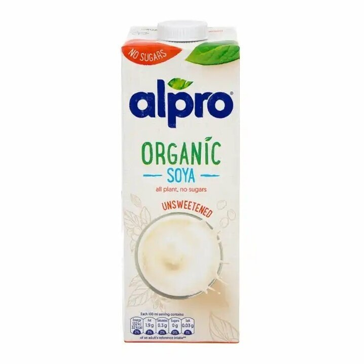 Alpro Organic Unsweetened Soya, 1ltr