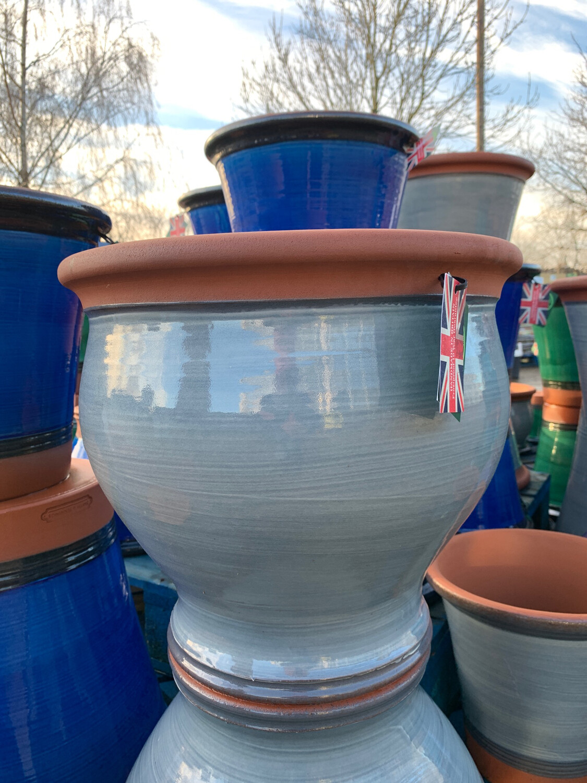 Pale Blue Glazed Belly pot - large