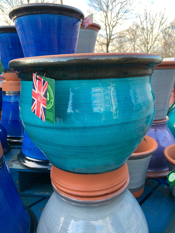 Deep Turquoise Glazed Belly pot - large