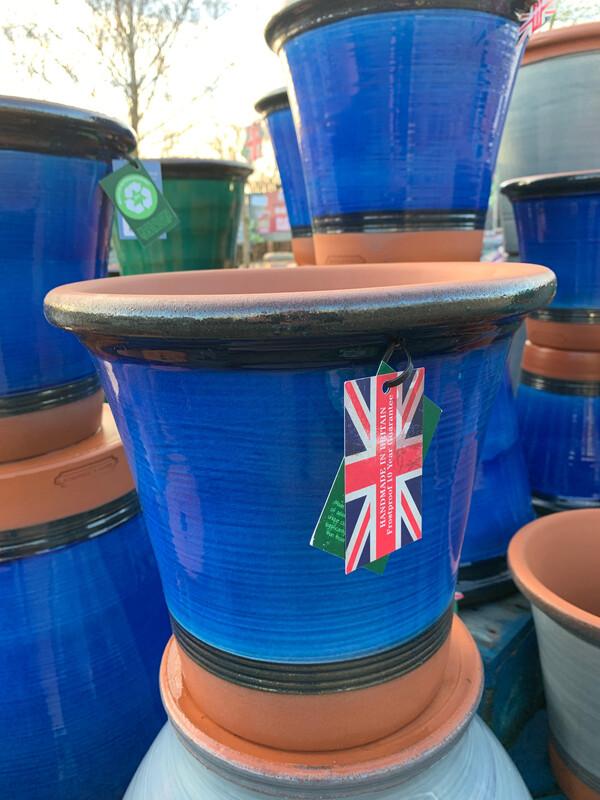 Blue Glazed  straight sided pot - medium