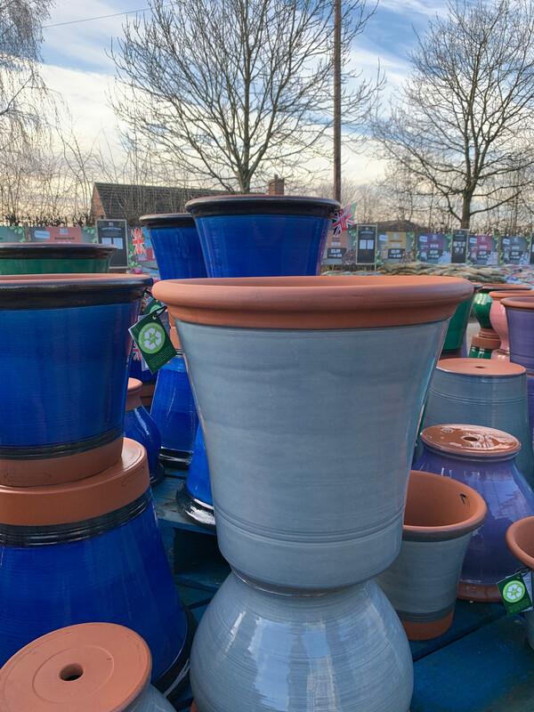 Pale Blue Glazed  straight sided pot - Extra Large