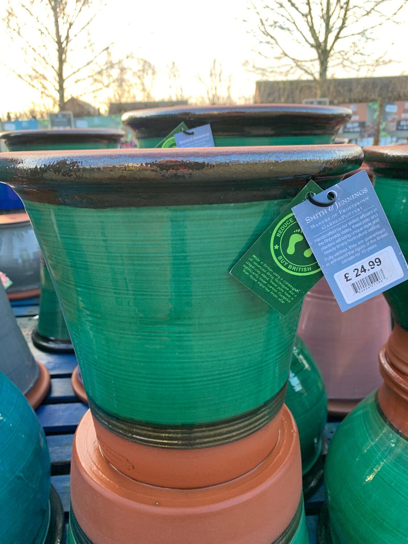 Green Glazed  straight sided pot - medium