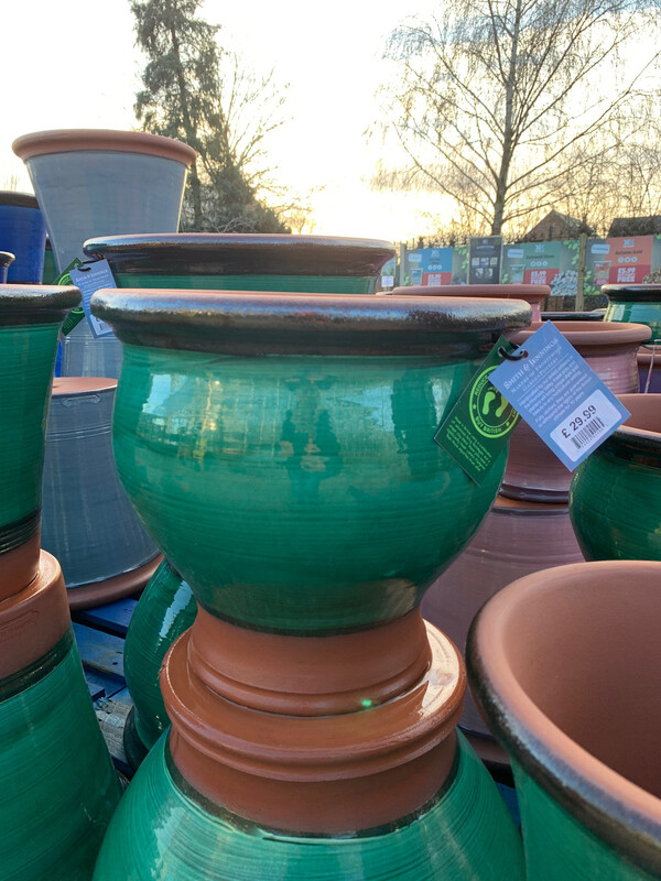 Green Glazed Belly pot - medium