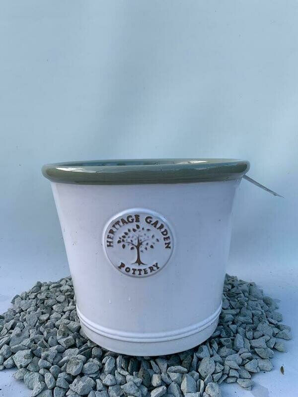 Woodlodge White Green Lip Heritage Pot 32cm