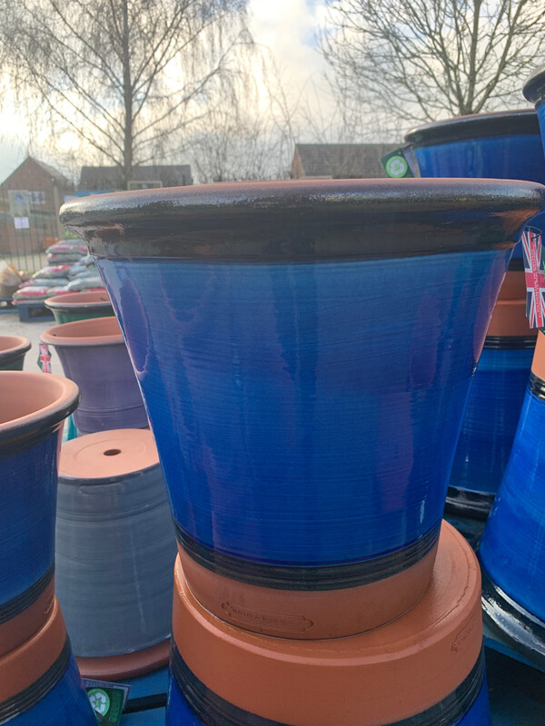 Blue Glazed  straight sided pot - Large
