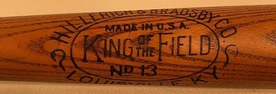 Antique Baseball Bat - 1910's Louisville Slugger King of the Field No. 13
