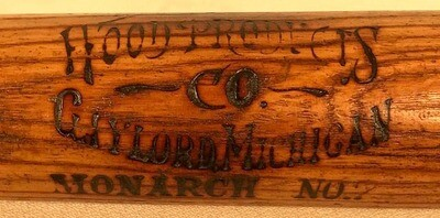 1910's Hood Products Co. Baseball Bat - Gaylord, Michigan
