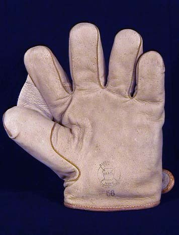 1908 Baseball Glove, Reach Model 56, White Leather, Full-Web