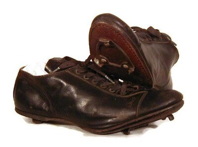 1930's Spalding Black Leather Baseball Shoes