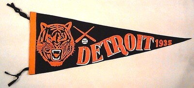 1935 Detroit Tigers Full Size Pennant, Extremely Rare